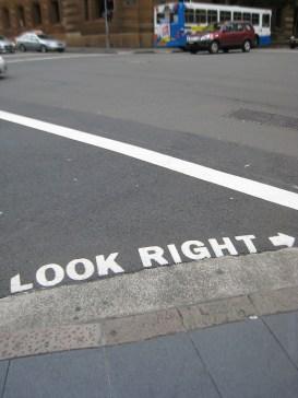 """look right"" street sign in Sydney"