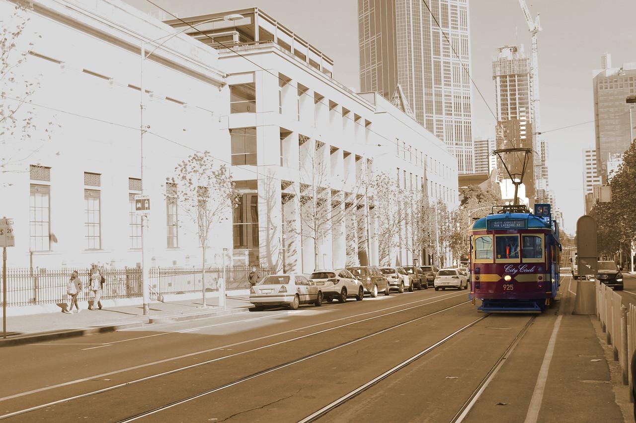 Circle Tram on La Trobe Street in Melbourne, Australia