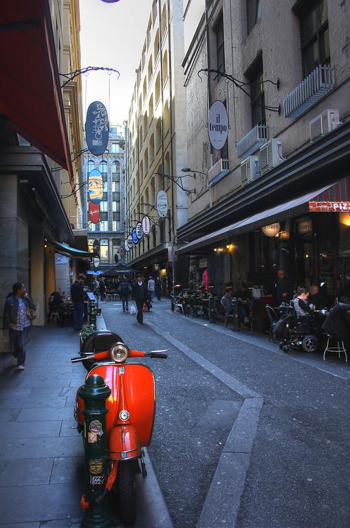 Vespa and lane way in Melbourne, Australia