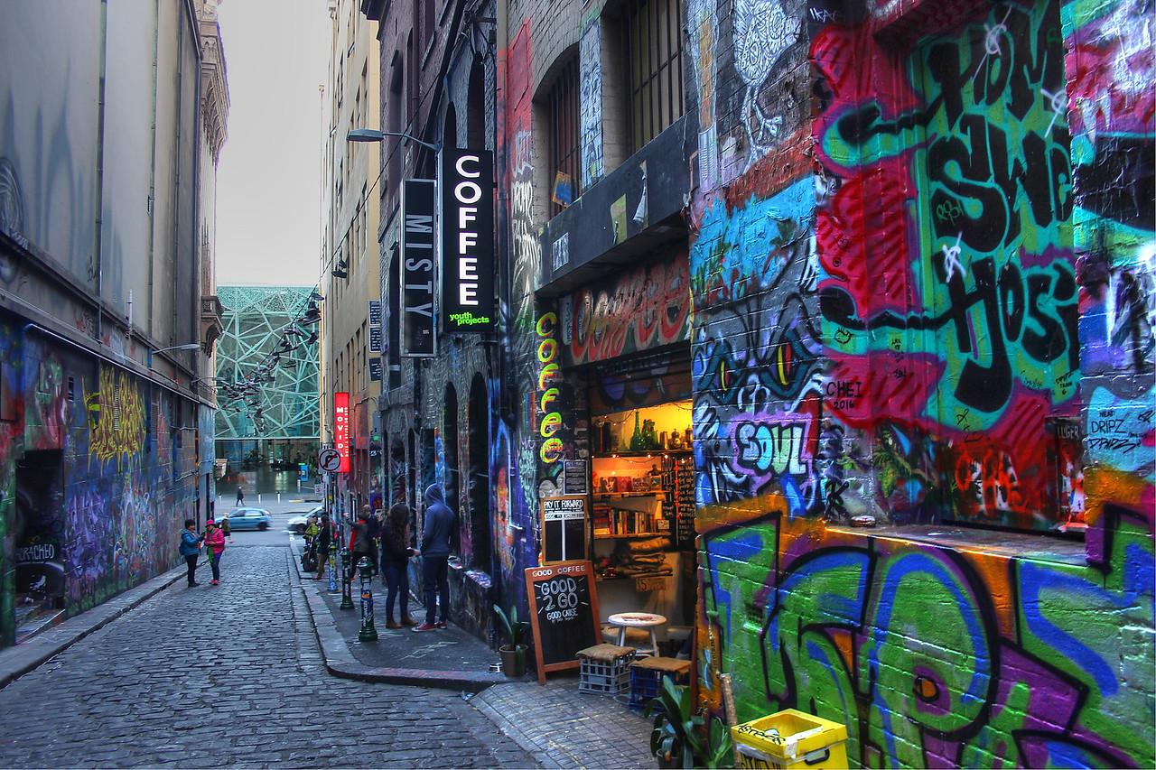 Street art in Hosier Lane in Melbourne, Australia