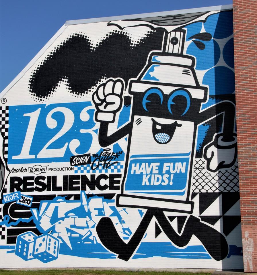 123 Klan Mural at Pow! Wow! Worchester Mural Festival
