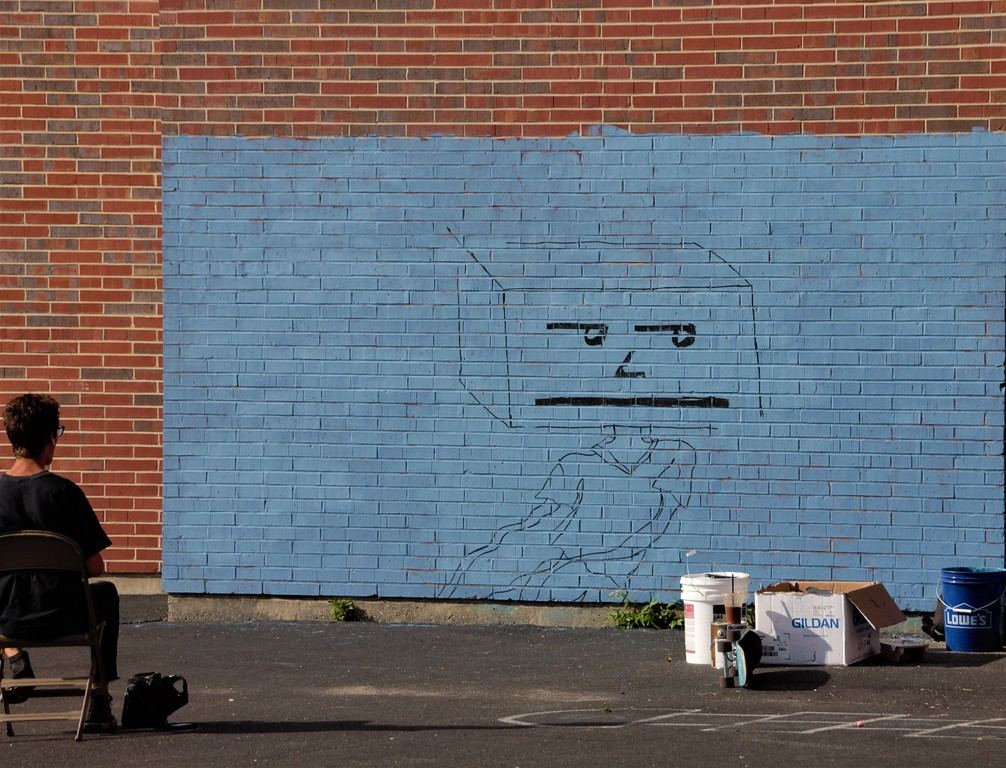 Mural being created by Spencer Shea at the Pow! Wow! Worcester