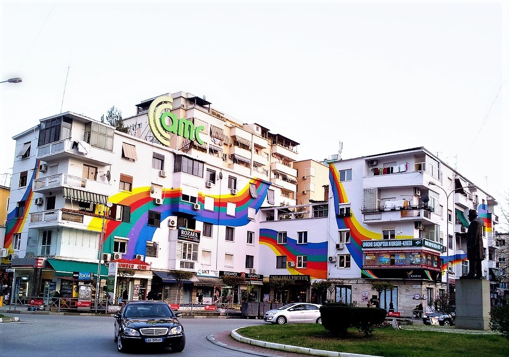 Colorful building in Tirana, Albania - StreetArtChat.com