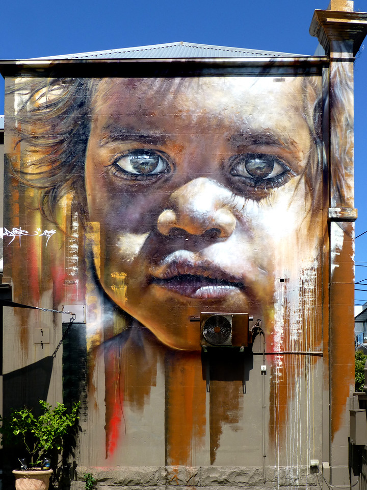 Aboriginal child - Where to find some of the best street art in Melbourne - StreetArtChat.com
