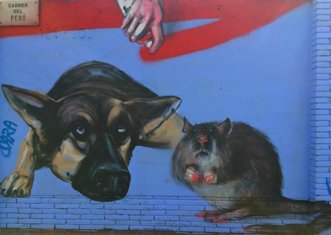 Dog and rat mural - Street Art of Barcelona - StreetArtChat.com