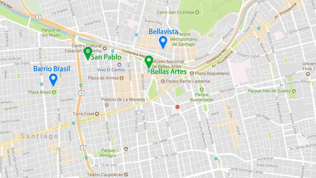 map of Santiago de Chile