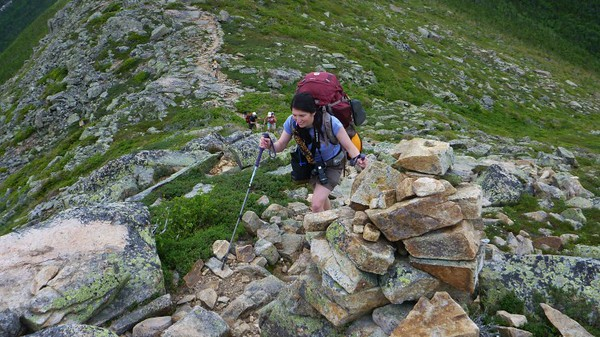 Cathy pushing to the next summit