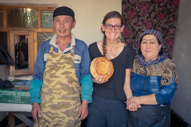 lepyoshka bread making Osh