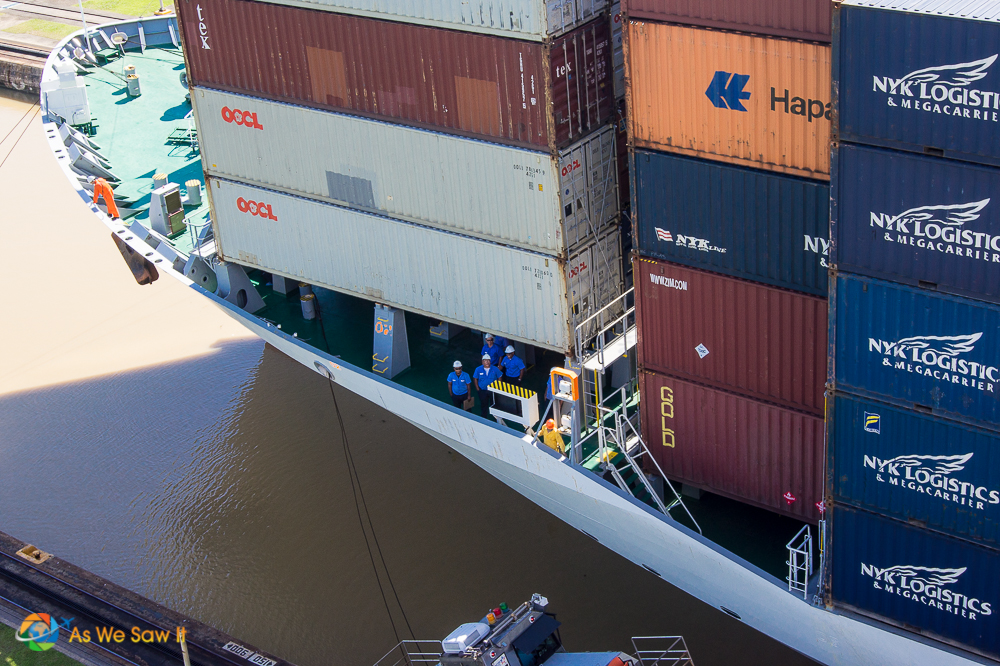 Ship passing through Gatun Locks