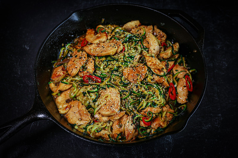 Garlic Chicken Zucchini Noodles Stir Fry Recipe