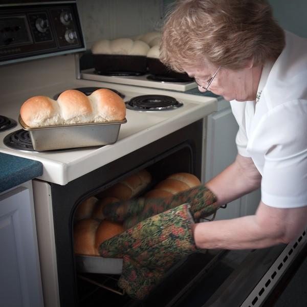 Backing fresh bread at B&B