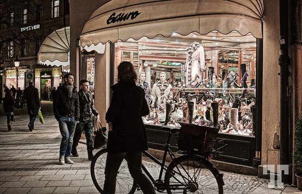 Store displays in the streets of Munich - Munchen, Germany