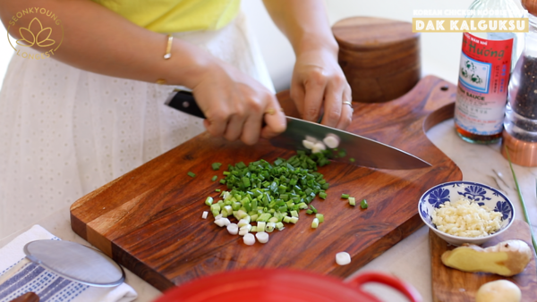Korean Chicken Noodle Soup, chopping green onions