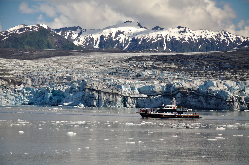 The Lulu belle cruise ship in front of the Columbia Glacier