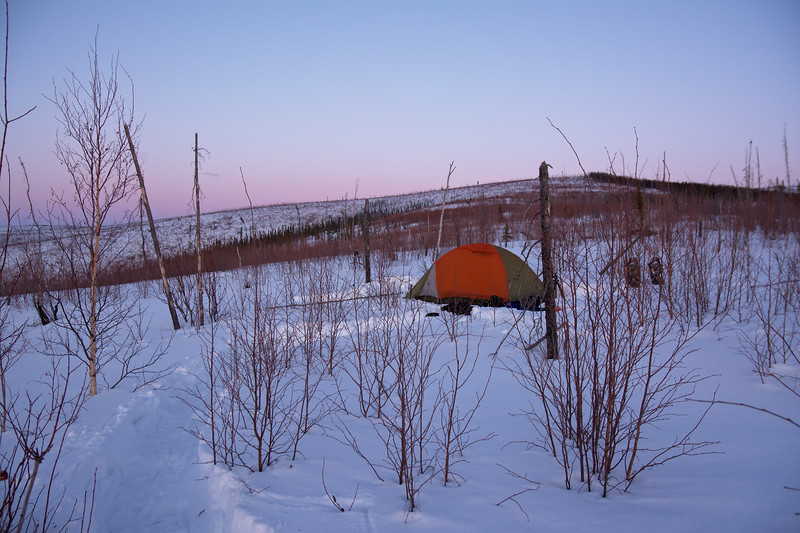 Winter campsite along the Granite Tors Trail