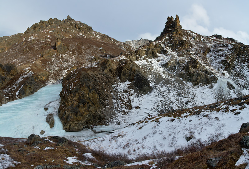 Rock outcroppings in the canyon south of the Savage River Loop trail in Denali National Park