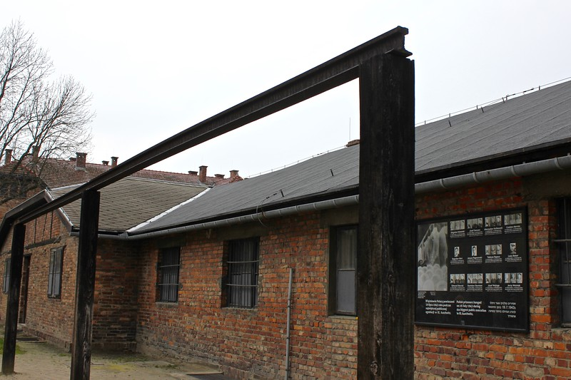 beam used for mass hangings at Auschwitz concentration camp