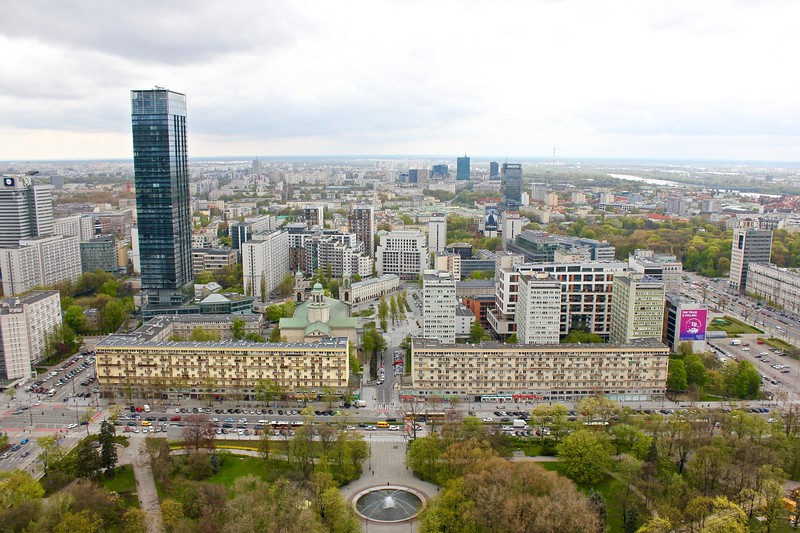 the view from the Palace of Art and Science in Warsaw, Poland