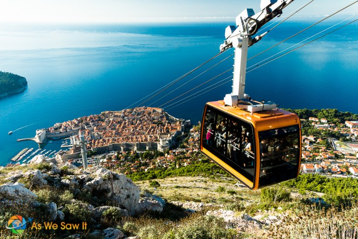 Dubrovnik cable car and view from top of Mt Srd