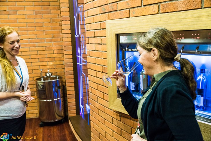 Sniffing the wine sample before tasting a white Moravian wine