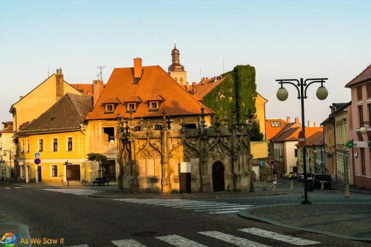 Gothic Stone Fountain in Kutna Hora, Czech Republic