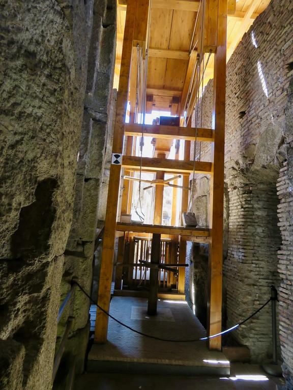 Roman Colosseum underground - elevator and trap door