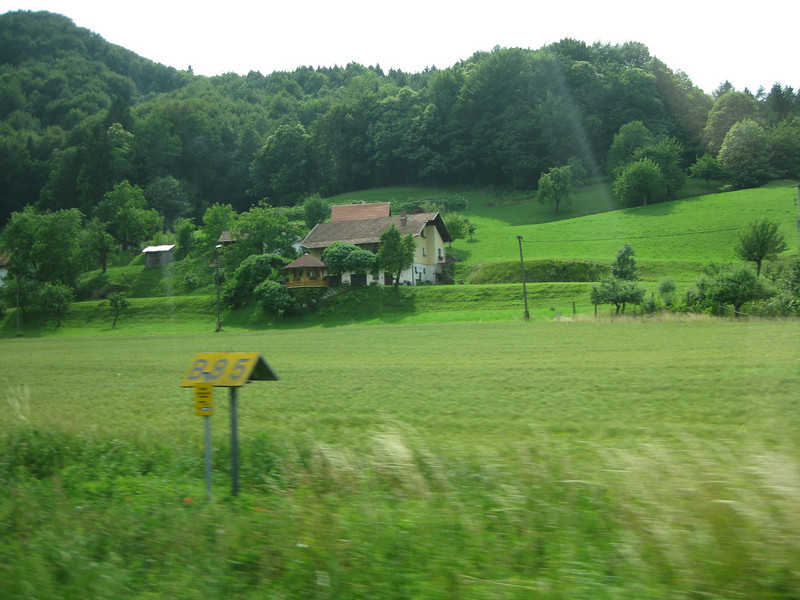 Driving across eastern Slovenia