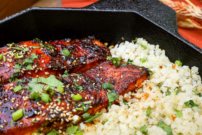 Firecracker Salmon and Cauliflower Rice Recipe & Video