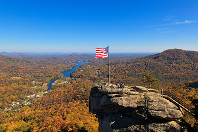 Chimney Rock Flying the American Flag