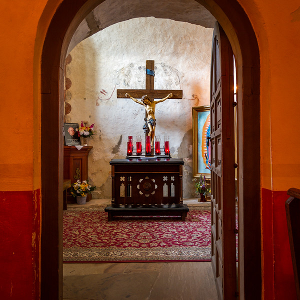 Mission Concepción Kneeler And Crucifix. Photo by Tim Stanley