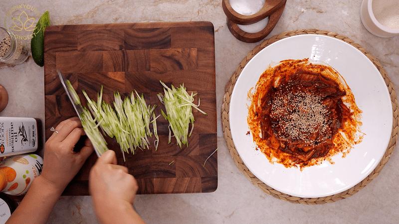 Vegan Kimchi Bibim Guksu, julienne cucumber