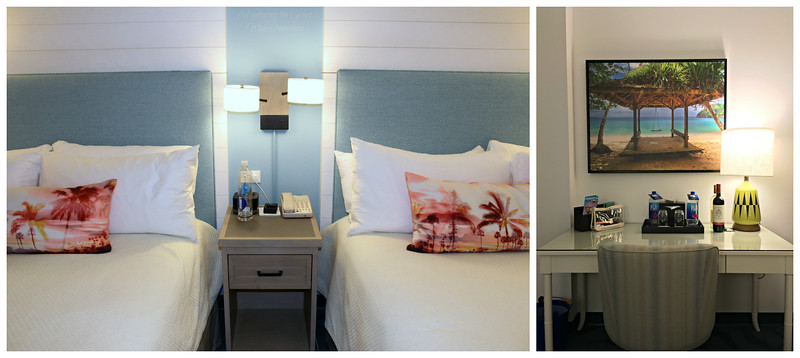 Second shot of the two queen beds, and the sleek white writing desk in our Sapphire Falls Resort hotel room.