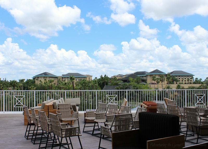 The spacious patio at Strong Water Tavern at Loews Sapphire Falls Resort