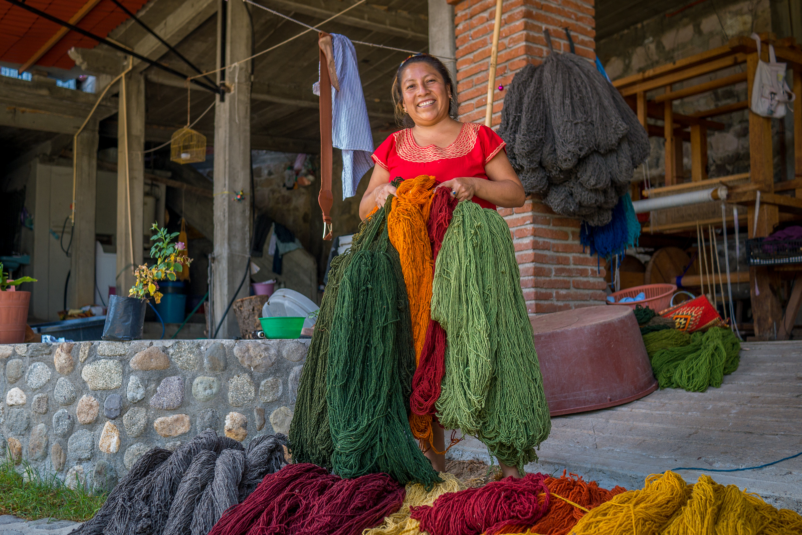 freshly dyed wool for rugs in teotitlan del valle