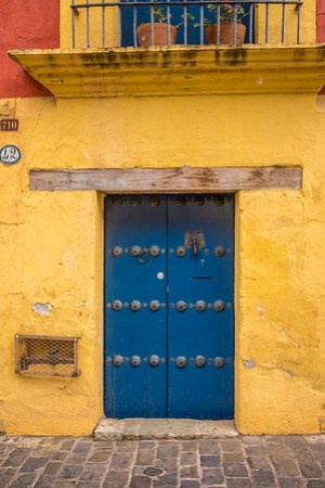 Colorful doorway in Oaxaca Centro.