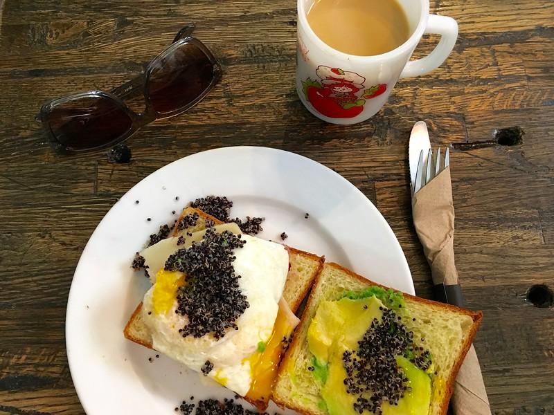 breakfast at Black Eye Coffee in Denver, Colorado