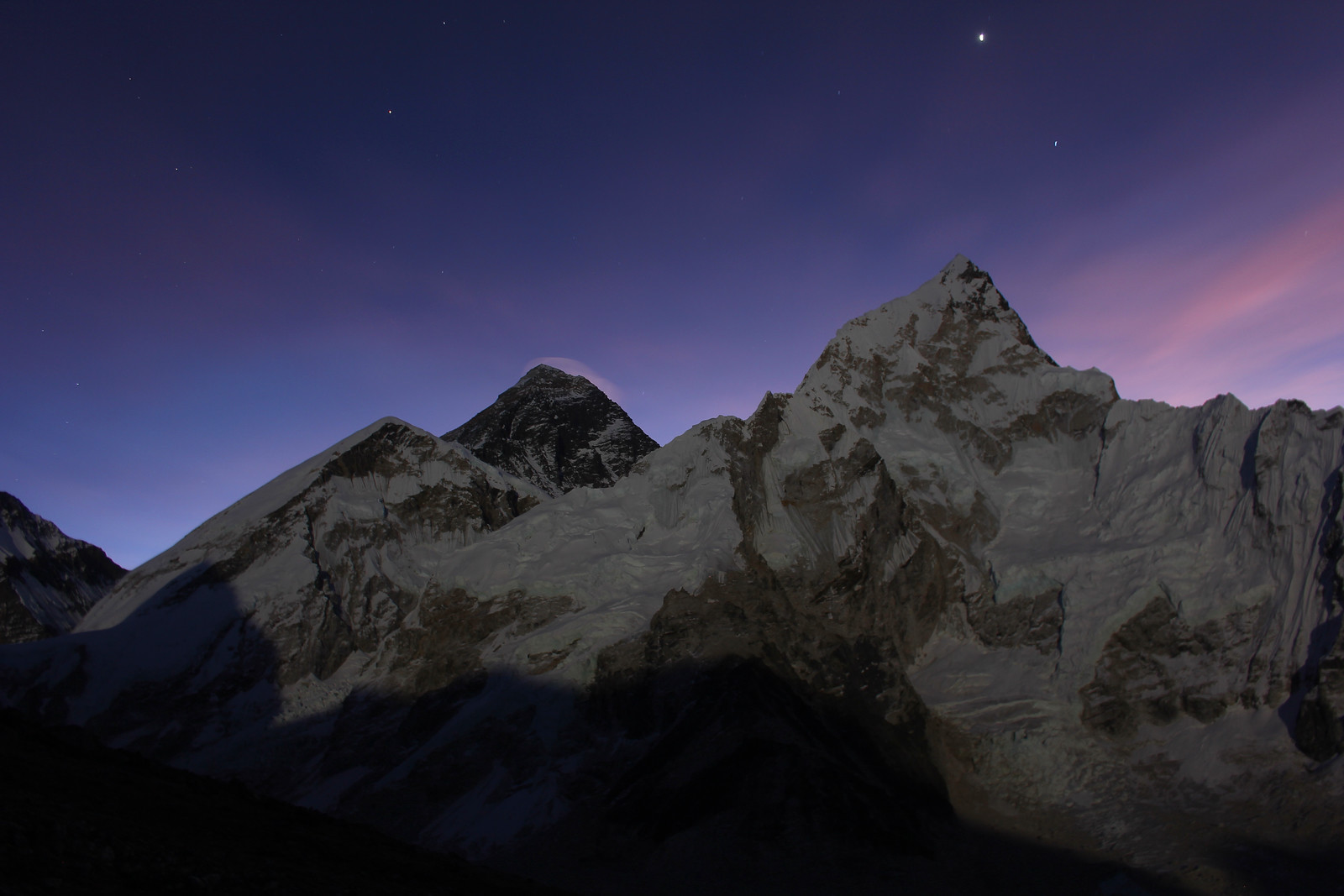 Mount Everest before dawn
