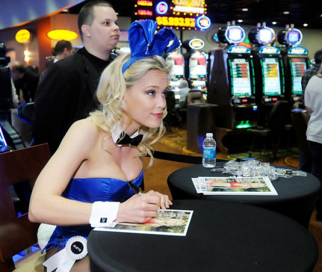 Playboy Playmate Juliette Frette Signs Autographs At Hoosier Park Racing Casino On Thursday To Help