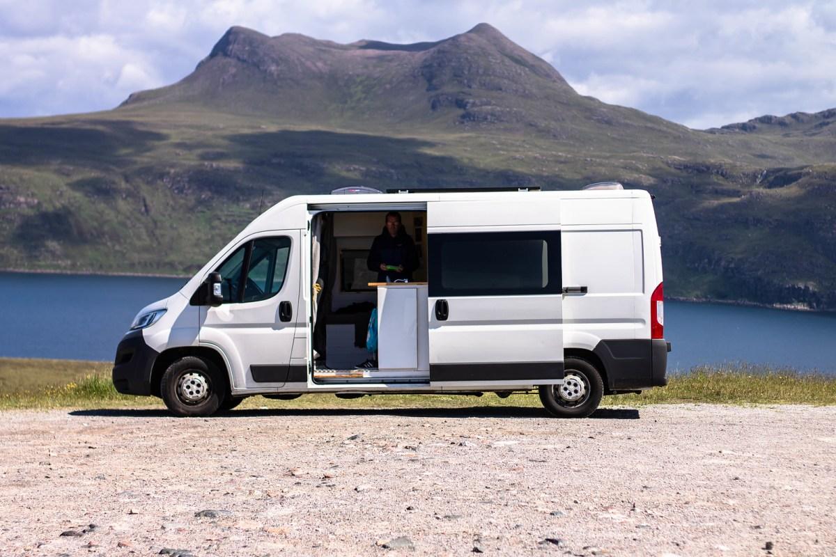 Campervan Accessories: Our white van conversion in the Scottish wilderness