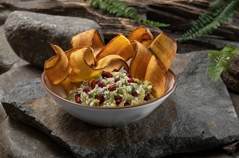 Pomegranate Guacamole with Plantain Chips from Jurassic Cafe at Universal Studios Hollywood