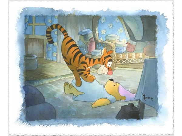 """""""Tigger Tackle"""" fine art print on paper by Toby Bluth"""