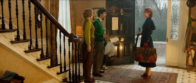 Emily Blunt is Mary Poppins, Emily Mortimer is Jane Banks, Ben Whishaw is Michael Banks and Joel Dawson is Georgie Banks in Disney's MARY POPPINS RETURNS, a sequel to the 1964 MARY POPPINS, which takes audiences on an entirely new adventure with the practically perfect nanny and the Banks family.