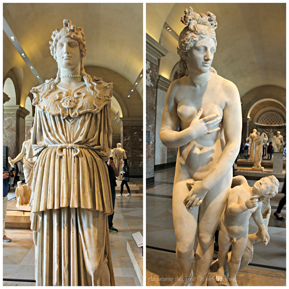 Statues of Athena and Aphrodite at the Louvre Museum