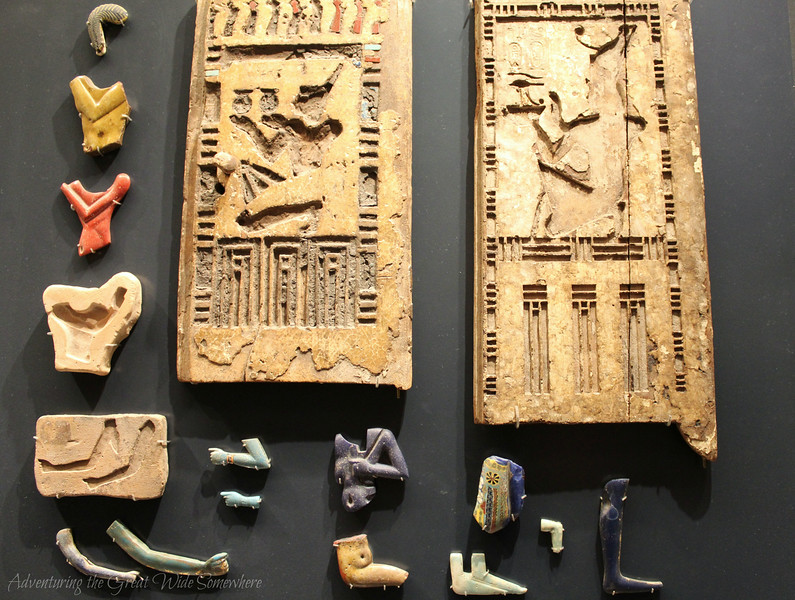 Recovered pieces of an ancient Egyptian slab on display at the Louvre