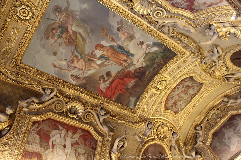 Yet another beautiful ceiling at the Louvre, covered in sculpted gold and elaborate paintings