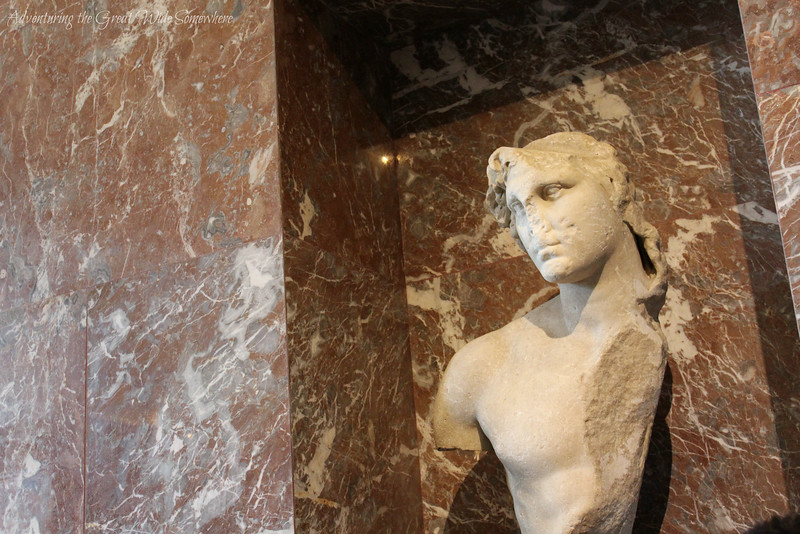 A worn down bust of Alexander the Great, located just behind the Venus de Milo