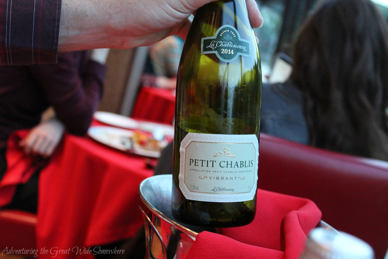 Bottle of La Petit Chablisienne on our 2016 Bateaux Mouches dinner cruise in Paris