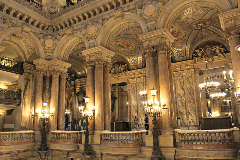 The beautiful upper levels of the Palais Garnier's main hall, where guests might have socialized before and after performances at the Palais Garnier.