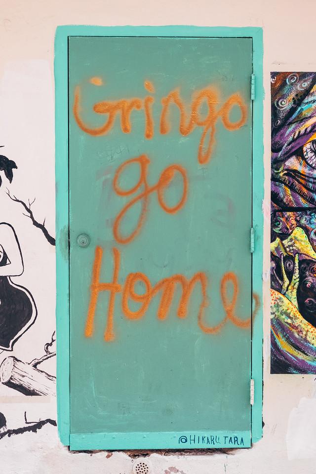 graffiti that says gringo go home