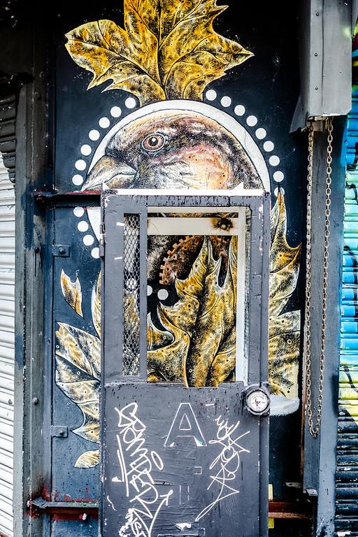 graffiti of beautiful intricate golden bird